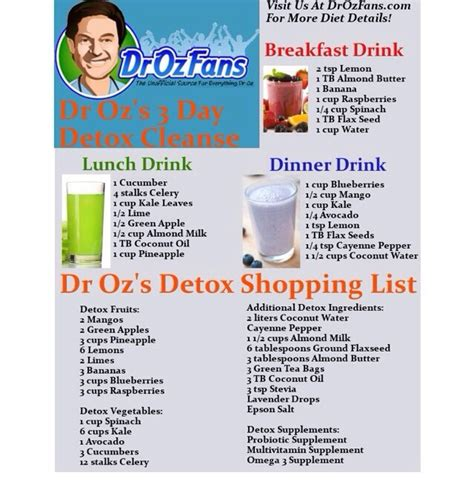 Dr Oz Detox Plan by Dr Oz 3 Day Detox Cleanse Musely