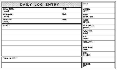 Design A Logbook Ottawa River Sailing Page Vessel Logbook Template