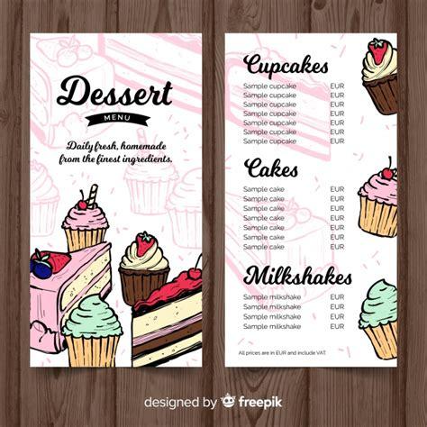 Hand Drawn Dessert Menu Template Vector Free Download Dessert Menu Template Free