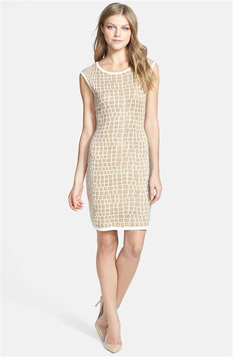 pattern sheath dress calvin klein pattern knit sheath dress in beige camel