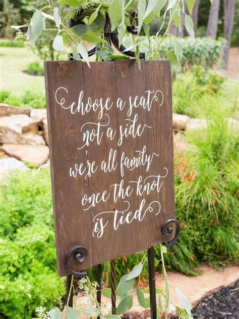Wedding Aisle Side by Choose A Seat Not A Side Sign Rustic Wedding Sign