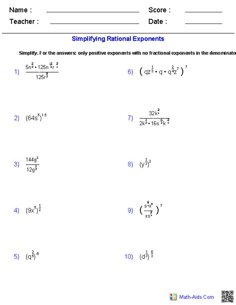 Algebra Exponents Worksheet by Simplifying Rational Exponents Worksheets Math Aids