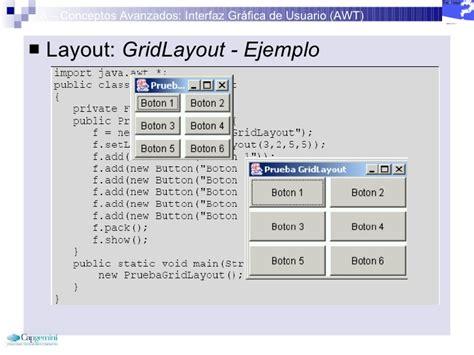 awt gridlayout curso java inicial 8 conceptos avanzados awt