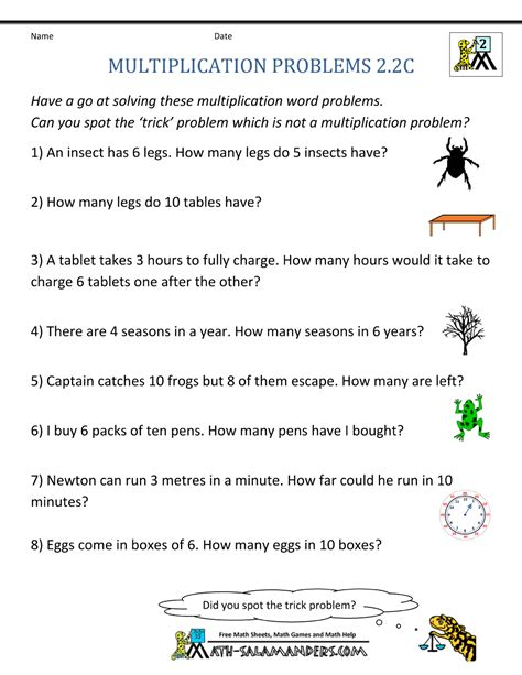 2nd Grade Math Word Problem Worksheets by Multiplication Word Problem Area 2nd Grade