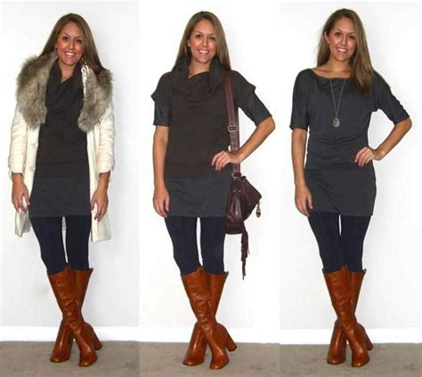 the gray sweater dress with brown boots fashion