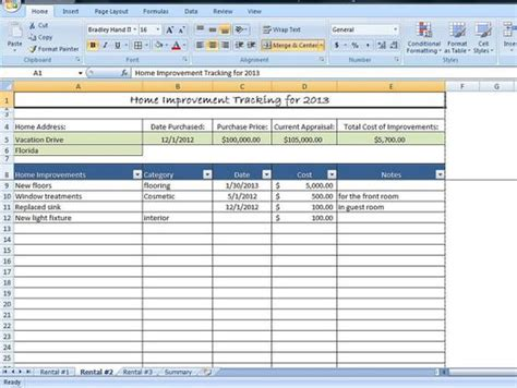 Home Improvement Tracking Template In Excel Spreadsheet Templates Home And Home Improvements Home Buying Spreadsheet Template