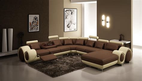 vig furniture 4084 contemporary brown and beige leather