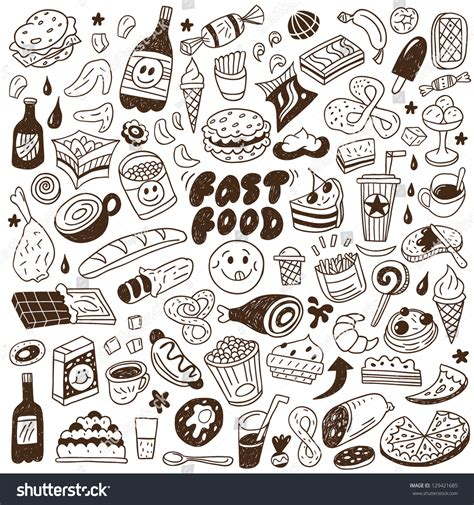 fast doodle fast food doodles set stock vector 129421685