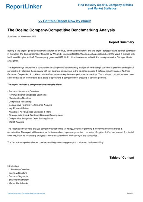 Boeing Analysis by The Boeing Company Competitive Benchmarking Analysis