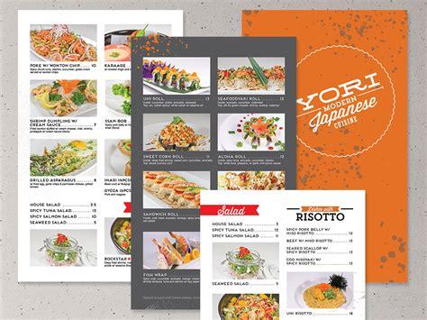 menu design for japanese restaurant yori modern japanese cuisine identity design