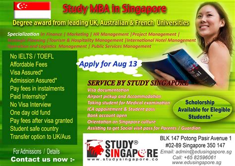 Post Mba In Singapore by Study In Singapore Singapore Mba