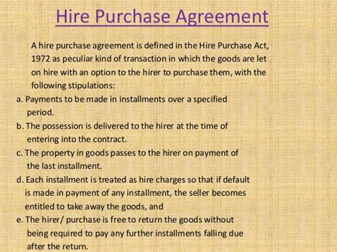 Agreement Letter For Hire Purchase Hire Purchase Agreement Unitedworld School Of Business