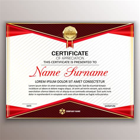 certificate design sle photoshop red styles certificate template vector 05 vector