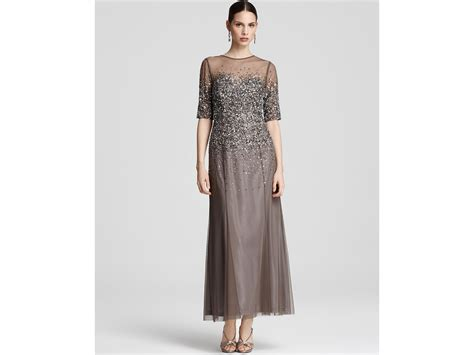 grey beaded gown papell beaded gown in gray lead lyst