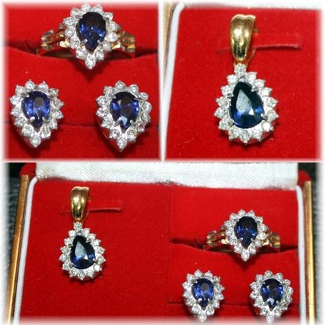 Set Intan sib01 set intan berlian blue safir