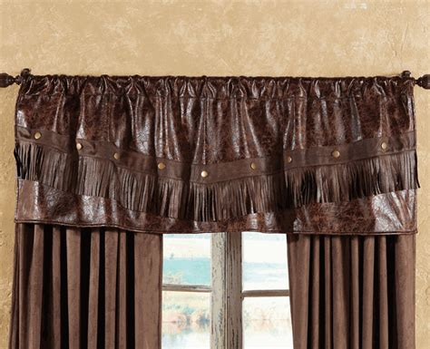 cowboy curtains distressed leather western valance