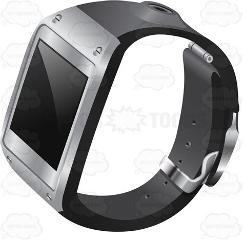 a smart watch with metal accent and black strap cartoon