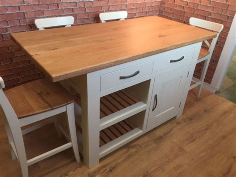 Handmade Kitchen Island Handmade Kitchen Island Solid Oak Top Breakfast Bar Bar Stools Bespoke Ebay