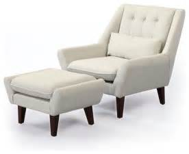 Living Room Chair With Ottoman Kardiel Stuart Mid Century Modern Lounge Chair Ottoman White Modern