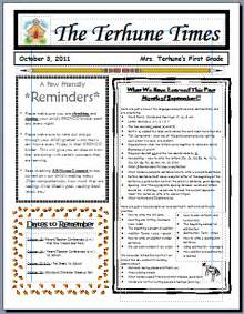 monthly newsletter template for teachers teaching with terhune monthly newsletters