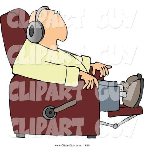 Recliner Clipart by Clip Of A White Sitting In A Recliner And Wearing