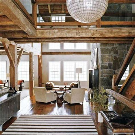 wooden home decoration interior design with reclaimed wood and rustic decor in country home style