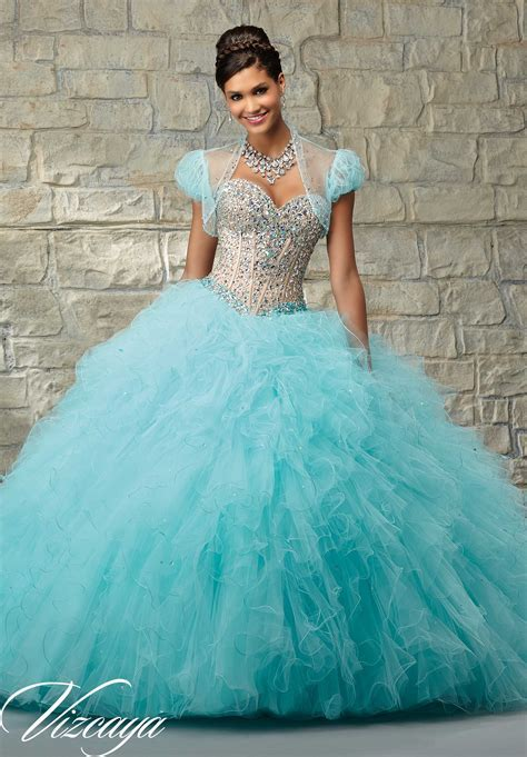 Two Tone Satin and Tulle with Beading Quinceañera Dress