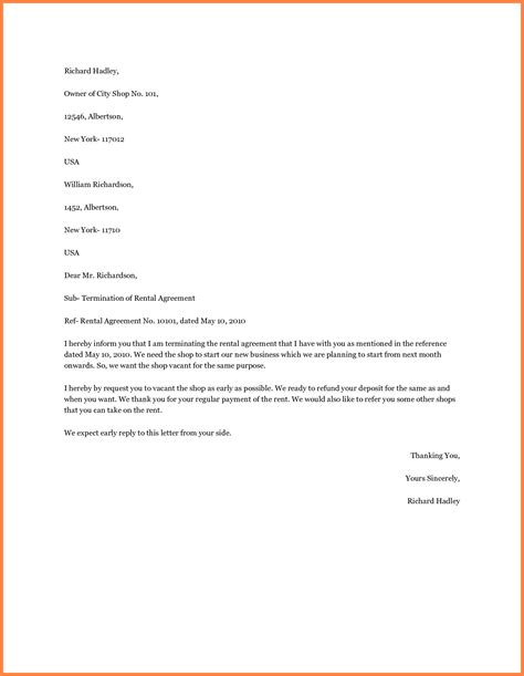 Agreement Letter Rental 8 Termination Of Rental Agreement Letter By Tenant Purchase Agreement