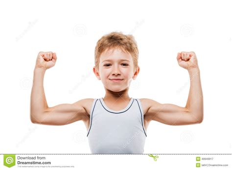 Sport Boy 10 smiling sport child boy showing his biceps muscles