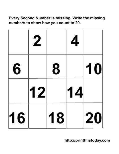Number Worksheets 1 20 by Writing The Missing Numbers Maths Worksheets 1 20