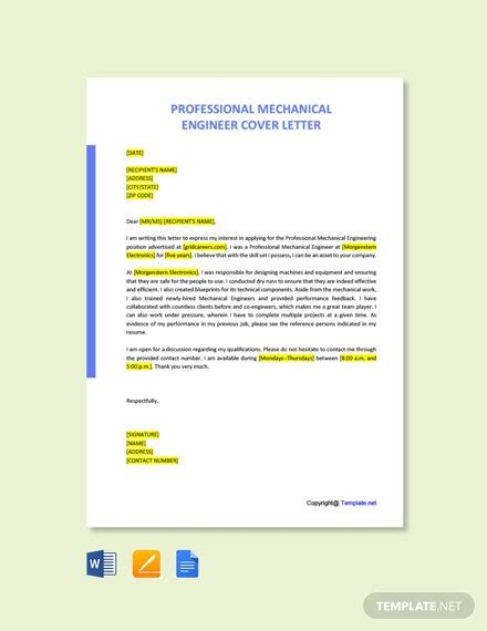 professional mechanical engineer cover letter word