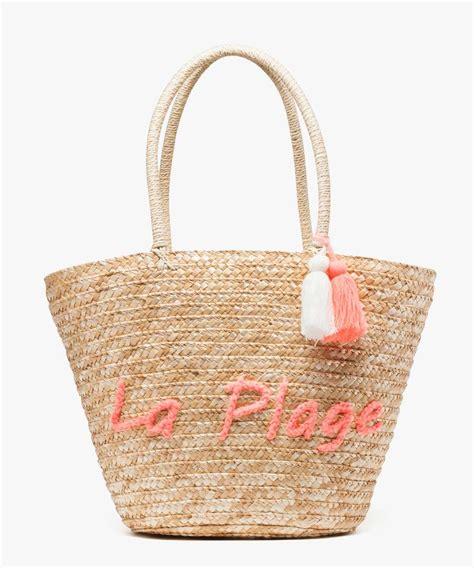 sac de plage avec pompon et inscription brod 233 e g 201 mo