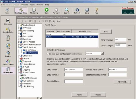 Configure L Server by Pix As A Dhcp Server And Client Configuration Exle