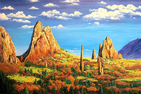 Garden Of God by Colorado Rocks Garden Of The Gods Painting By Connie Tom