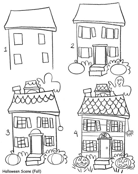 draw my house a cute haunted house for children samhain sketches