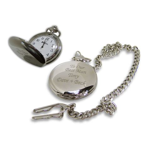 personalised engraved pocket fob watch in gift tin