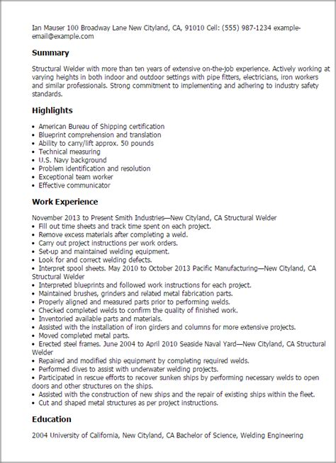 Summary Exles For Welders Resume Professional Structural Welder Templates To Showcase Your Talent Myperfectresume