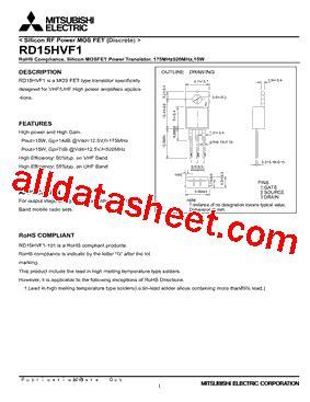 transistor rd15hvf1 datasheet rd15hvf1 datasheet pdf mitsubishi electric semiconductor