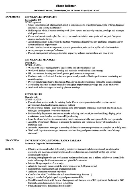 examples of retail resumes resume sample for retail sales