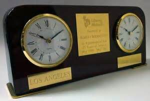 Multi Time Zone Desk Clock by Quot Dual Time Quot Two Time Zone Desk Award Clock 72974 Swag