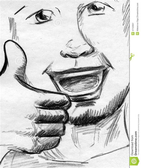 thumbs up sketch stock illustration image 47123697