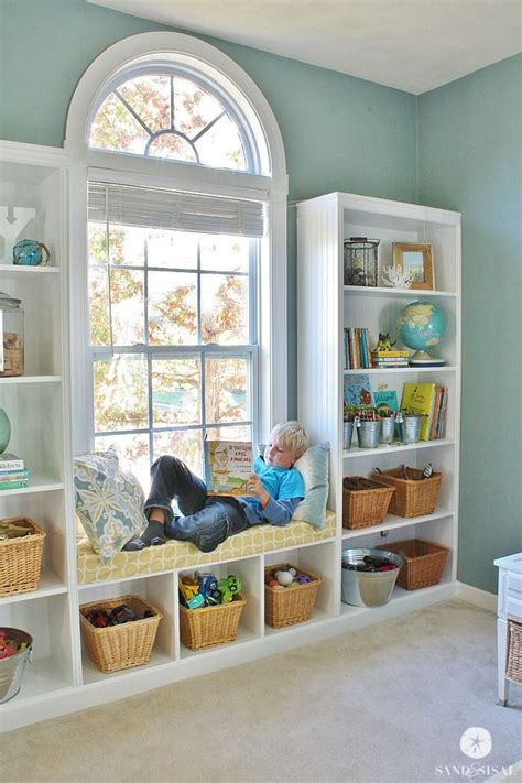 diy built in bookshelves window seat window playrooms