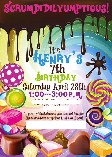 Willy Wonka Invitations Templates the six henry s willy wonka birthday