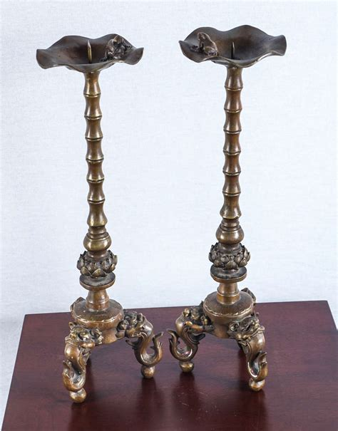 Candle Stands For Sale 19th Century Tibetan Foo Candle Stands For Sale At 1stdibs