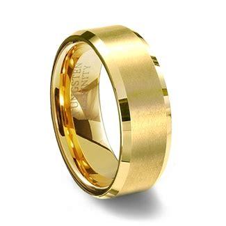 Cincin Single Pholised Ring gold brushed finish tungsten carbide wedding ring polished beveled edge