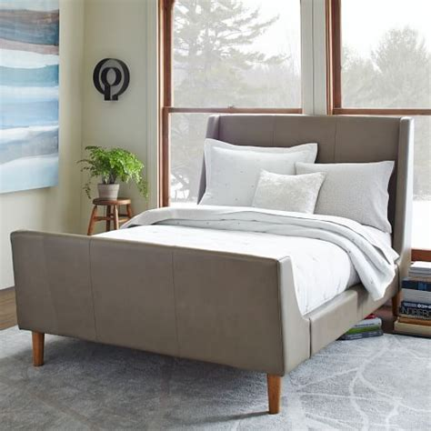 west elm bed leather sleigh bed elephant gray west elm