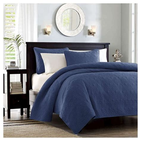 Vc Restock Pitaloka Set Navy vancouver quilted coverlet set navy 3 target
