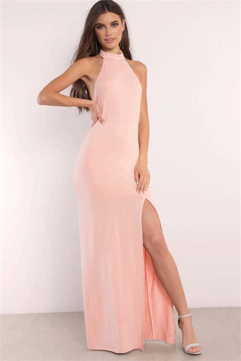light pink halter dress grey maxi dress backless dress mock neck dress full