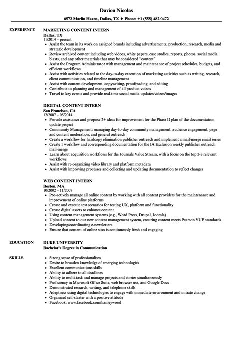 Content Intern Resume Samples | Velvet Jobs