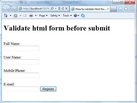 format html javascript form validation in javascript with exle